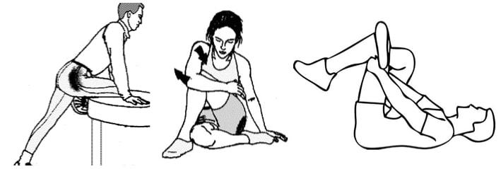 trois étirements du muscle piriforme du bassin afin de soulager la sciatique en complément du traitement de l'ostéopathe