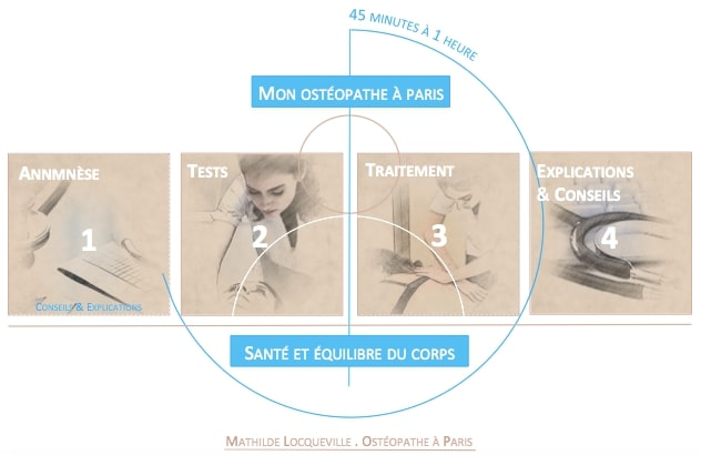 étapes de la séance de l'ostéopathe